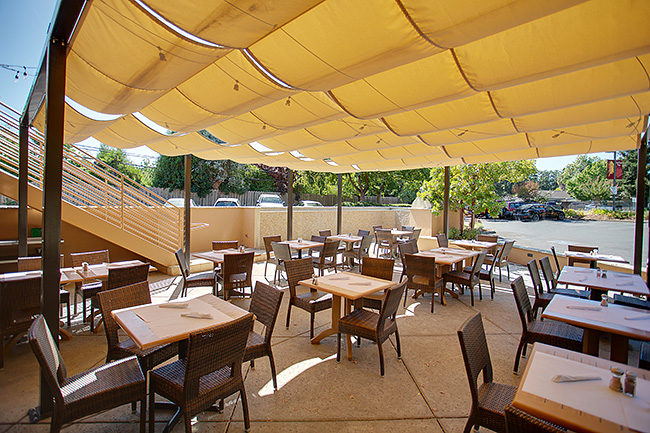 Commercial outdoor shade solution. By Goodwin-Cole.