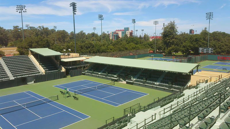 High-peak tent canopies designed, constructed, , by Goodwin-Cole Company, Inc. at Stanford University, consisted of two separate canopies installed over bleacher seating for the University tennis courts.